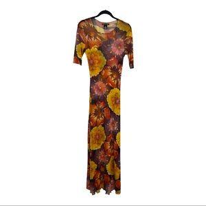 Vivienne Tam Y2K Bright Floral Mesh Maxi Medium